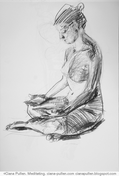Meditating, Drawing from 2015 by Ciana Pullen; Dimensions: 18 inches × 24 inches × 0 inch; Materials: Charcoal on Paper; Description:  © Ciana Pullen 2015