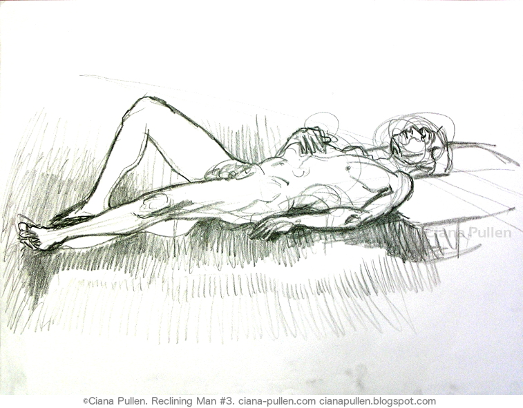 Reclining Man, Drawing from 2010 by Ciana Pullen; Dimensions: 18 inches × 24 inches × 0 inch; Materials: Wax crayon on Paper; Description:  © Ciana Pullen 2010