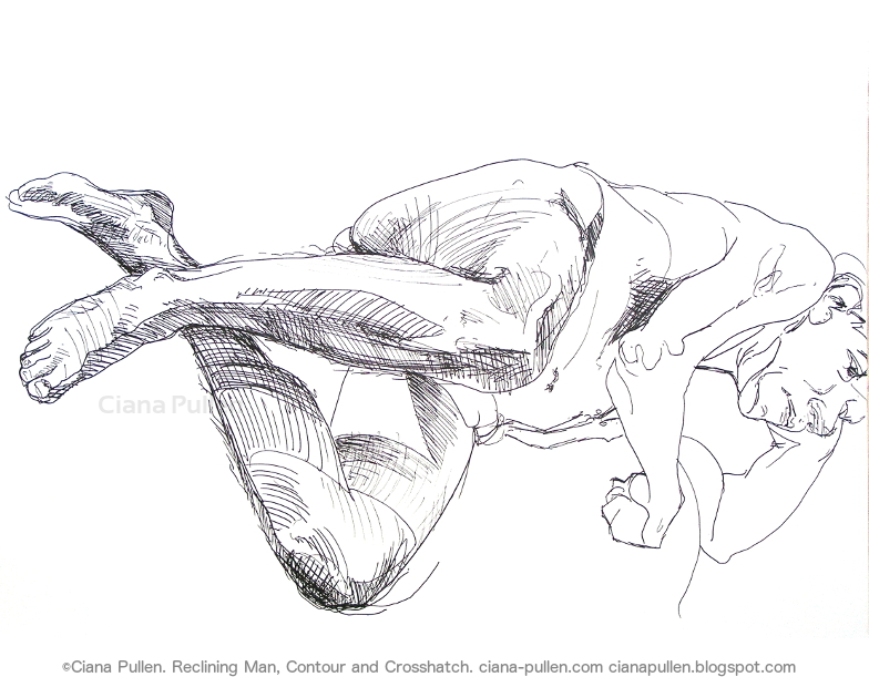 Reclining Man, Drawing from 2010 by Ciana Pullen; Dimensions: 18 inches × 24 inches × 0 inch; Materials: Ink pen on Paper; Description:  © Ciana Pullen 2010
