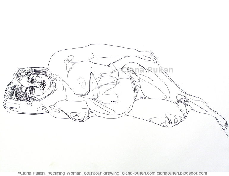 Reclining Woman - Contour drawing, Drawing from 2010 by Ciana Pullen; Dimensions: 18 inches × 24 inches × 0 inch; Materials: Ink pen on Paper; Description:  © Ciana Pullen 2010