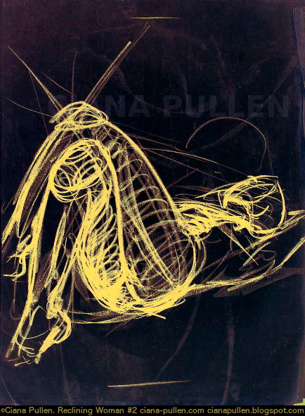 Reclining Woman 2, Drawing from 2002 by Ciana Pullen; Dimensions: 18 inches × 24 inches × 0 inch; Materials: Charcoal, digital on Paper; Description:  © Ciana Pullen 2002