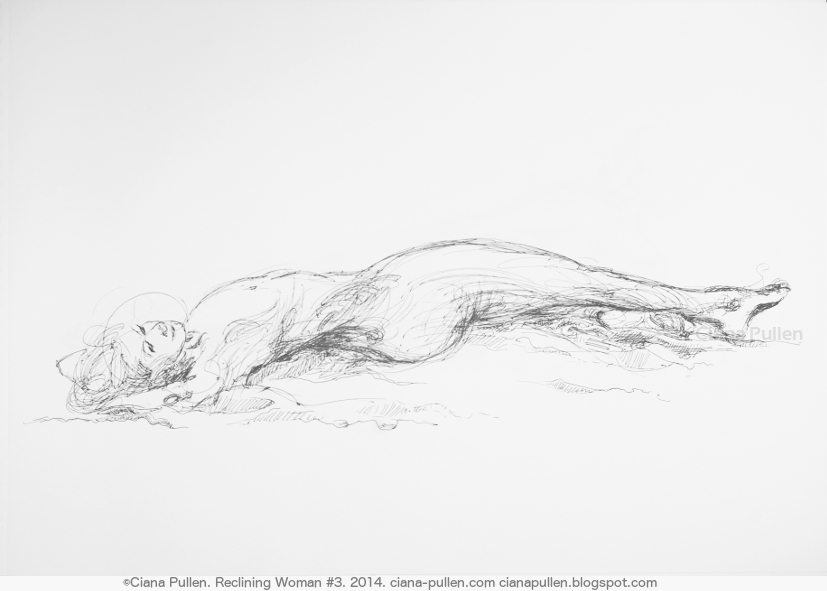 Reclining Woman 3, Drawing from 2014 by Ciana Pullen; Dimensions: 18 inches × 24 inches × 0 inch; Materials: Ink pen on Paper; Description:  © Ciana Pullen 2014