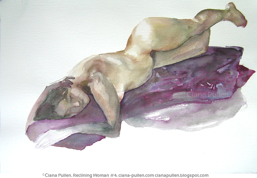 Reclining Woman 4, Painting from 2011 by Ciana Pullen; Dimensions: 11 inches × 14 inches × 0 inch; Materials: Watercolor on Paper; Description:  © Ciana Pullen 2011