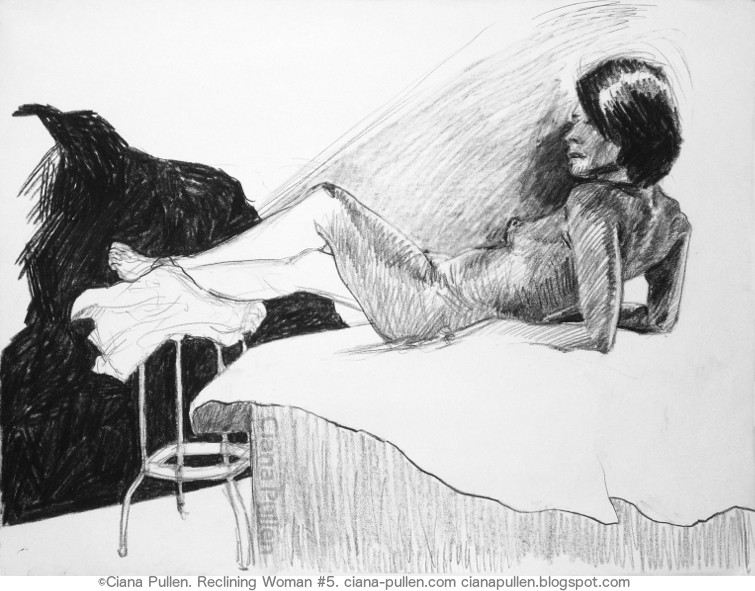 Reclining Woman 5, Drawing from 2012 by Ciana Pullen; Dimensions: 18 inches × 24 inches × 0 inch; Materials: Charcoal on Paper; Description:  © Ciana Pullen 2012