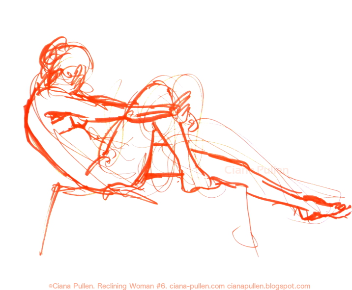 Reclining Woman 6, Drawing from 2010 by Ciana Pullen; Dimensions: 18 inches × 24 inches × 0 inch; Materials: Marker on Paper; Description:  © Ciana Pullen 2010