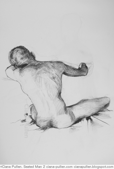 Seated Man 2, Drawing from 2015 by Ciana Pullen; Dimensions: 18 inches × 24 inches × 0 inch; Materials: Charcoal on Paper; Description:  © Ciana Pullen 2015