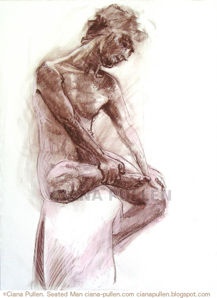 Seated Man, Drawing from 2010 by Ciana Pullen; Dimensions: 18 inches × 24 inches × 0 inch; Materials: Chalk pastel, conte crayon on Paper; Description:  © Ciana Pullen 2010