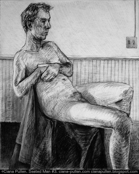 Seated Man 3, Drawing from 2010 by Ciana Pullen; Dimensions: 18 inches × 24 inches × 0 inch; Materials: Charcoal on Paper; Description:  © Ciana Pullen 2010