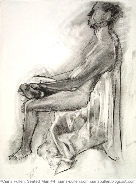 Seated Man 4, Drawing from 2010 by Ciana Pullen; Dimensions: 18 inches × 24 inches × 0 inch; Materials: Charcoal on Paper; Description:  © Ciana Pullen 2010