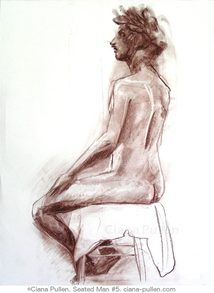 Seated Man 5, Drawing from 2010 by Ciana Pullen; Dimensions: 18 inches × 24 inches × 0 inch; Materials: Chalk pastel, conte crayon on Paper; Description:  © Ciana Pullen 2010