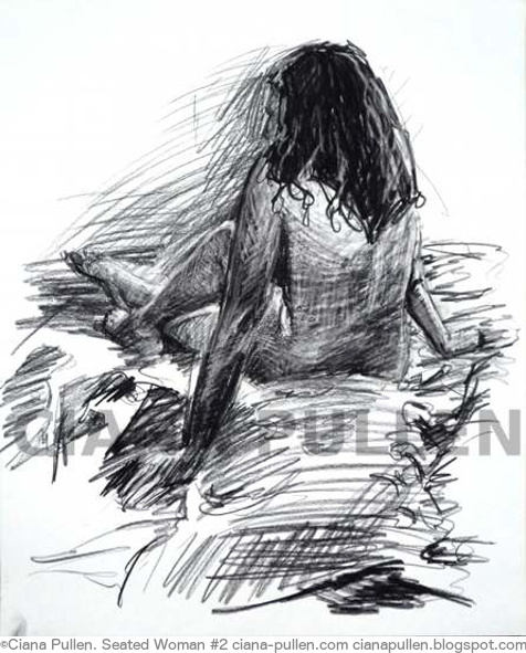 Seated Woman 2, Drawing from 2012 by Ciana Pullen; Dimensions: 18 inches × 24 inches × 0 inch; Materials: Charcoal on Paper; Description:  © Ciana Pullen 2012
