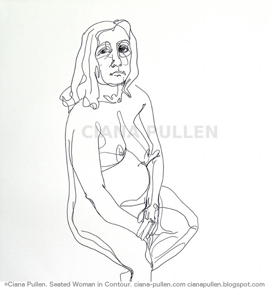 Seated Woman in Contour, Drawing from 2012 by Ciana Pullen; Dimensions: 18 inches × 24 inches × 0 inch; Materials: Ink pen on Paper; Description:  © Ciana Pullen 2012