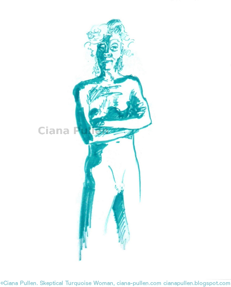 Skeptical Turquoise Woman, Drawing from 2013 by Ciana Pullen; Dimensions: 18 inches × 24 inches × 0 inch; Materials: Marker on Paper; Description:  © Ciana Pullen 2013