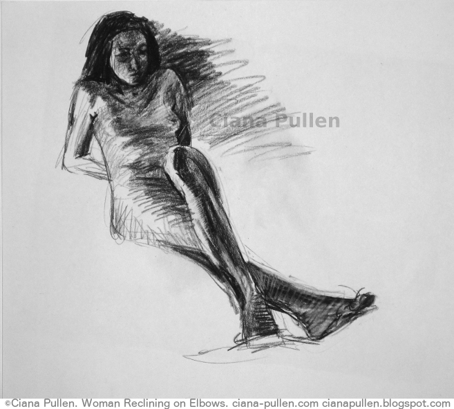 Woman Reclining on Elbows, Drawing from 2012 by Ciana Pullen; Dimensions: 18 inches × 24 inches × 0 inch; Materials: Charcoal on Paper; Description:  © Ciana Pullen 2012