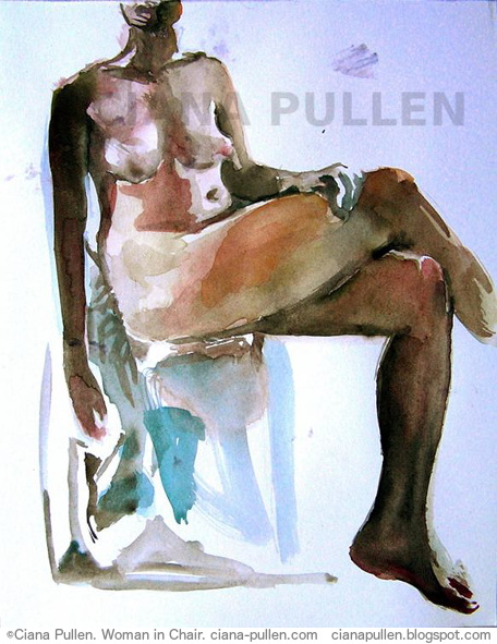 Woman in Chair, Painting from 2011 by Ciana Pullen; Dimensions: 11 inches × 14 inches × 0 inch; Materials: Watercolor on Paper; Description:  © Ciana Pullen 2011