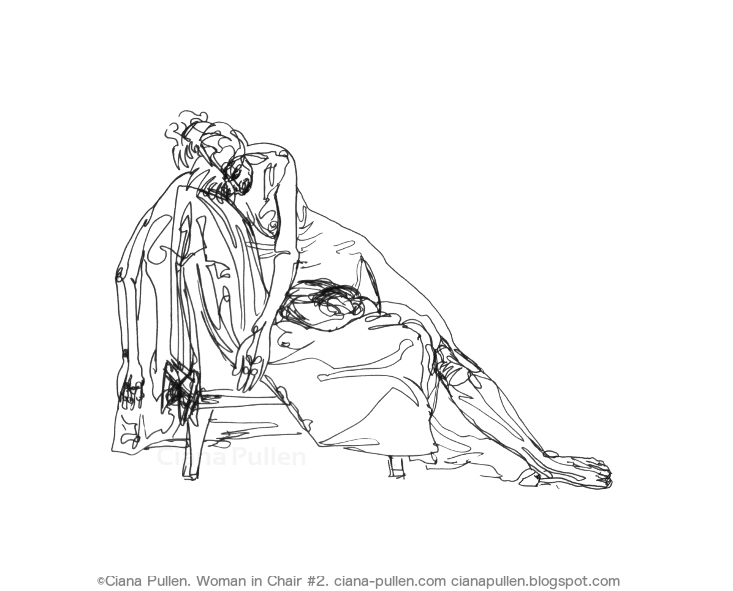 Woman in Chair 2, Drawing from 2013 by Ciana Pullen; Dimensions: 18 inches × 24 inches × 0 inch; Materials: Ink pen on Paper; Description:  © Ciana Pullen 2013