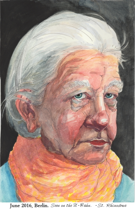 Old Woman on UBahn, Painting from 2016 by Ciana Pullen; Dimensions: 8 inches × 10 inches × 0 inch; Materials: Watercolor on Paper; Description: Signed as St. Rhinocéros © Ciana Pullen 2016