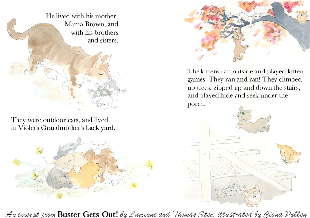 Buster 3-4, Painting from 2015 by Ciana Pullen; Dimensions: 17 inches × 11 inches × 0 inch; Materials: Watercolor on Paper; Description: A page spread from the children's book Buster Gets Out, by Lucienne Potterfield Stec and Thomas Stec, illustrated by Ciana Pullen. Available via [The Bookpatch] (http://www.thebookpatch.com/BookStore/buster-gets-out/04a9a029-81fc-40e5-a428-d67cc0991fc7?isbn=9780692535677), [Potterfields on Etsy] (https://www.etsy.com/shop/Potterfields?ref=l2-shopheader-name) and [Ciana Pullen on Etsy] (https://www.etsy.com/shop/CianaPullen). © Ciana Pullen 2015
