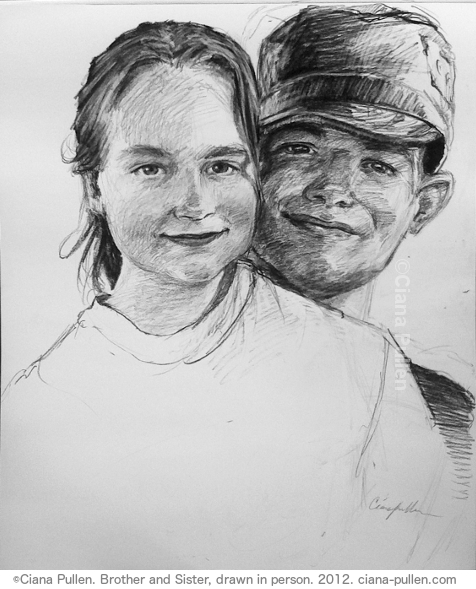 Brother and Sister, Drawing from 2012 by Ciana Pullen; Dimensions: 16 inches × 20 inches × 0 inch; Materials: Charcoal on Paper; Description: Drawn from a live sitting. © Ciana Pullen 2012