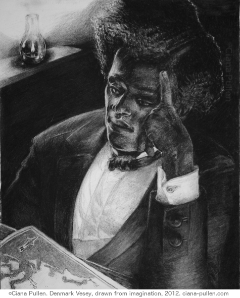 Denmark Vesey, Drawing from 2012 by Ciana Pullen; Dimensions: 16 inches × 20 inches × 0 inch; Materials: Charcoal on Paper; Description: When I ran across Denmark Vessey in local Charleston history, I had a chance to really delve into researching this relatively little-known figure of staggering historical importance. Sold as a teen to a Caribbean slave trader, he was taken on as an informal apprentice and friend. He learned to read and write and navigate at sea. When his owner settled in Charleston, Vessey happened to win a street lottery and used it to purchase his own freedom. Just as the nation's first Black congregations were forming in the North, Vessey helped to found one of the earliest Black churches in the South, in open resistance to White Protestant authority. He became the most notorious figure in the US when, in 1821, he was put on trial for orchestrating what would have been the largest slave uprising in US history. Had three slaves not informed authorities just days before the uprising was planned, an estimated 10,000 slaves and Black people would allegedly have marched through Charleston, killing White people and setting fire to the city, before sailing to freedom in Haiti, which had recently caught the world's attention when a slave rebellion successfully demolished white colonial rule. Driven by fear of a spreading spirit of global slave revolt, Charleston authorites kept all aspects of the trial secret, erasing as all images and legacy of Vessey. His church was closed, but re-opened and still exists today. Tragically, Emanuel AME church made headlines again in 2014 when it was targeted by a white supremacist who murdered 6 congregants during a service on the aniversary of Vessey's would-be uprising. His trial and execution forever changed the course of slavery legislation and free Black society. Since no images of Vessey remain, this portrait is how I imagine he may have looked. For the full story of this fascinating man and a snapshot of a bizarre time in Charlestonian society, please read the full essay I've written [here](http://cianapullen.blogspot.de/2014/02/denmark-vesey-born-telemaque.html?utm_source=BP_featured). © Ciana Pullen 2012
