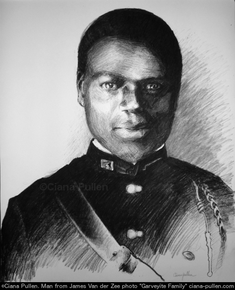 "Man From James Van der Zee Photo, Drawing from 2011 by Ciana Pullen; Dimensions: 16 inches × 20 inches × 0 inch; Materials: Charcoal on Paper; Description: This unknown young man I singled out and drew from a family portrait taken by James Van Der Zee in the 1920s. Van Der Zee set up a photography studio in Harlem during the ""Harlem Renaissance,"" and captured an incredible slice of life, as well as important figures of the day. From what I can find, this family has been noted only as a ""Garveyite family,"" meaning they were involved with a major African American (and international) social movement inspired by the writing of Marcus Garvey popular in the early 20th century, who placed an emphasis on improving the standing of black people collectively through individual and community educational and cultural empowerment. © Ciana Pullen 2011"