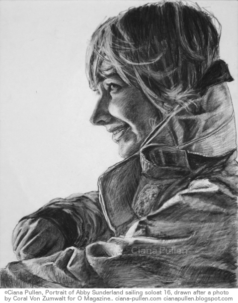 Portrait of Abby Sunderland, Drawing from 2012 by Ciana Pullen; Dimensions: 16 inches × 20 inches × 0 inch; Materials: Charcoal on Paper; Description: Abby Sunderland, a teenager who attempted to break the record for youngest person to circumnavigate the globe by sailboat. Her boat suffered extreme damage in a remote part of the Indian Ocean in a late leg of the journey and she was rescued after several days stranded at sea with no radio contact. Portrait drawn from an O magazine profile photograph by Coral Von Zumwalt. © Ciana Pullen 2012