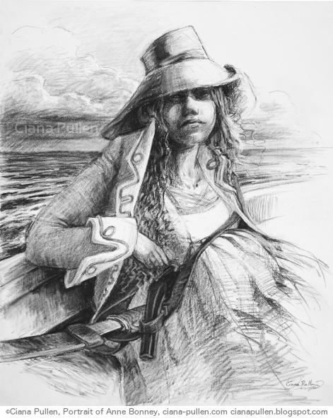 "Portrait of Anne Bonney, Drawing from 2012 by Ciana Pullen; Dimensions: 16 inches × 20 inches × 0 inch; Materials: Charcoal on Paper; Description: Caribbean pirate Anne Bonney (1702-1782) and her lover Mary Read were captured while defending their ship, while pregnant. In the gallows Bonney said to the ship's captain ""Calico Jack"" Rackham: she was ""sorry to see him there, but if he had fought like a Man, he need not have been hang'd like a Dog."" She escaped execution due to pregnancy, then settled into married family life like nothing had ever happened. Little is know of her appearance, so this is an imagined portrait. © Ciana Pullen 2012"