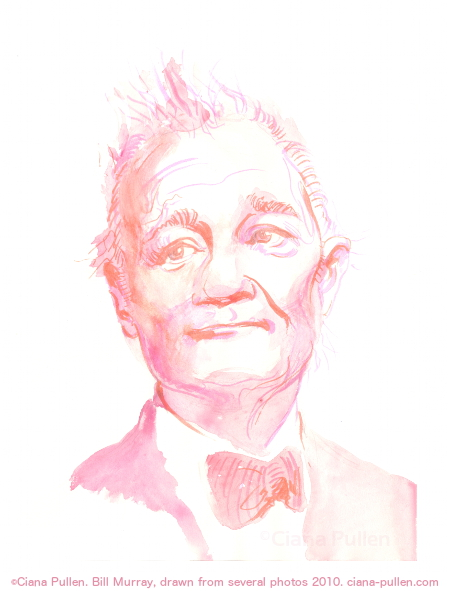 Portrait of Bill Murray, Drawing from 2010 by Ciana Pullen; Dimensions: 11 inches × 14 inches × 0 inch; Materials: Marker and watercolor on Paper; Description: Portrait drawn from a combination of several photographs. © Ciana Pullen 2010