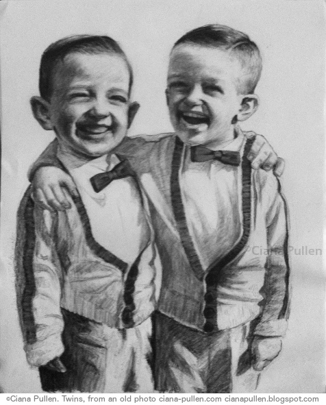 Portrait of Twins, Drawing from 2012 by Ciana Pullen; Dimensions: 16 inches × 20 inches × 0 inch; Materials: Charcoal on Paper; Description: Drawn from a vintage photograph. © Ciana Pullen 2012