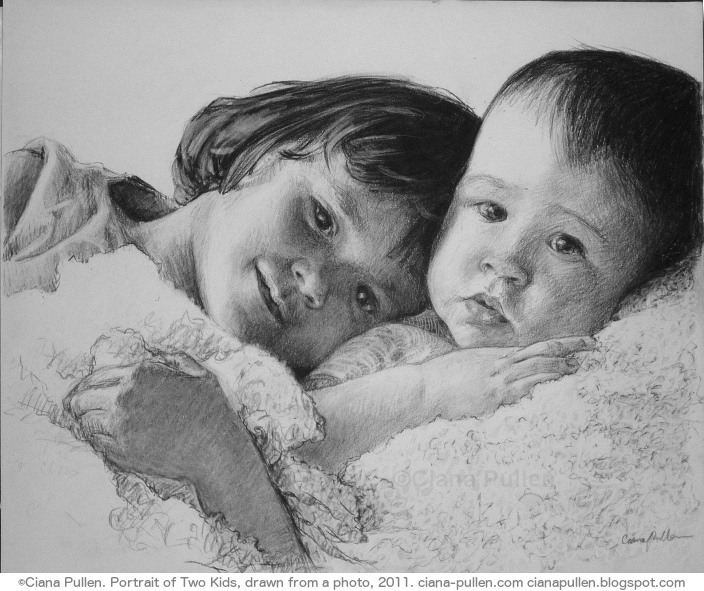Portrait of Two Kids, Drawing from 2011 by Ciana Pullen; Dimensions: 16 inches × 20 inches × 0 inch; Materials: Charcoal on Paper; Description: Drawn from a photograph. © Ciana Pullen 2011