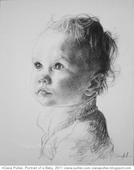 Portrait of a Baby, Drawing from 2011 by Ciana Pullen; Dimensions: 16 inches × 20 inches × 0 inch; Materials: Charcoal on Paper; Description: Drawn from a photograph. © Ciana Pullen 2011