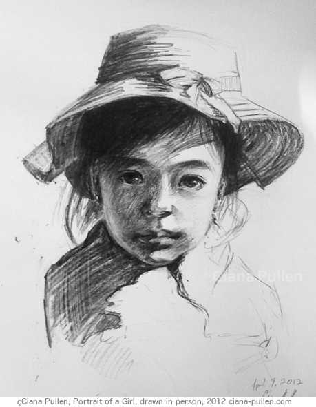 Portrait of a Girl, Drawing from 2012 by Ciana Pullen; Dimensions: 16 inches × 20 inches × 0 inch; Materials: Charcoal on Paper; Description: Drawn from a live sitting. © Ciana Pullen 2012