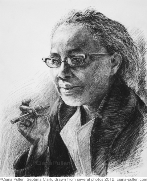 Septima Clark, Drawing from 2012 by Ciana Pullen; Dimensions: 16 inches × 20 inches × 0 inch; Materials: Charcoal on Paper; Description: Civil rights legend Septima Poinsette Clark (1898 – 1987) began as a teacher in a small African American school on Johns Island near Charleston, SC. Because she was black she was not allowed to teach in Charleston, but while teaching in Johns Island she developed ways of using everyday materials such as catalogs to teach literacy. Outraged by massive discrepencies in pay and supplies for Black teachers and schools, Clark sued and won an important legal victory for Black educators to be eligible to be principals in any Charleston public school. In the extreme backlash that followed she was fired and ostracized by whites and apprehensive fellow Black educators. Because Jim Crow laws prevented illiterate citizens from voting, Clark began organizing short 1- and 2-week courses that were designed to be taught with minimal resources, often hidden in back rooms of shops because of the threat of racial violence, with the goal of passing voting literacy tests and setting foundations for communities to further their own learning. By 1969 Clark's program helped to register over 700,000 people to vote, including Rosa Parks just months before the famous Montgomery Bus Boycott. Clark became the first woman appointed a leadership position in the Southern Christian Leadership Conference, but she would struggle with sexism from within the civil rights movement, speaking out against it and retiring from the organization in 1970. She then sued for back payment and pensions from her job with the Charleston Public School System and won, going on to serve two terms on the Charleston County School Board. She was awarded a Living Legacy Award by President Jimmy Carter in 1979. Portrait drawn from several photographs. © Ciana Pullen 2012